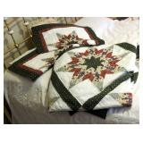 "Hand Stitched Queen Size Star Quilt With Matching Pillow Shams, Quilt Measures 88"" x 92"""