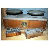 "Antique Balance Scale With Granite Top, 8"" x 19"" x 8.5"", Includes Lead Balance Weight Sets, Qty 2"