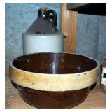 "Antique Stoneware Jugs, Butter Crocks, 10"" Mixing Bowl, And More"