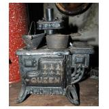 "Cast Iron Miniature ""Queen"" Wood Cook Stove, ""Princess"" Cook Stove, Balance Scale, Brass Hand Bells,"