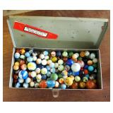 Vintage Glass Marble Collection, Various Sizes/Types/Colors, Contents Of 2 Tins