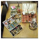 Vintage Costume Jewelry Assortment Including Pins, Earrings, Cuffs, Bracelets, Necklaces, Cufflinks,