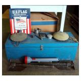 """Wood """"Troop 256"""" Scout Box 10.5 x 32"""" x 11.5"""", Canteens, Vintage Soling Handwarmer, Foxhole Shovels,"""