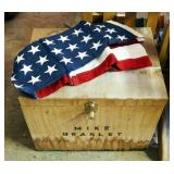 "Wood Camp Box With Internal Trays, 17"" x 21"" x 16"" And American Flag"
