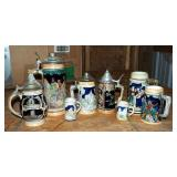 Collectible German Pottery Steins, Qty 8