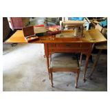 Vintage Singer Sewing Machine In Solid Wood Sewing Cabinet Includes Vintage Handheld Sewing Machine,