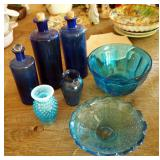 Blue Glass Bottles, Serving Bowl, Bud Vase And More
