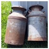 "Antique Metal Milk Cans With Lids QTY. 2, 25"" Tall"