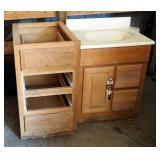 "Bathroom Vanity With Sink 35"" x 25"" x 22"" And Four Drawer Storage Cabinet 34.5"" x 18"" x 25"""