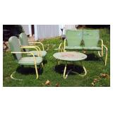 Vintage Metal Patio Set Including Two Arm Chairs, Glider And Round Table