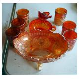 "Marigold Carnival Glass Assortment Including 10"" Footed Bowl, Juice Glasses Qty 6, Serving Bowl And"