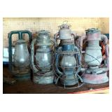 Antique Oil Lanterns With Glass Globes, Qty 5
