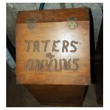 "Handcrafted Wood ""Taters & Onyuns"" Storage With Drawer, 27"" x 13.5"" x 13"""