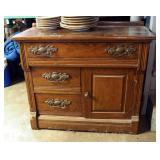 "Antique Solid Wood 3-Drawer Wash Stand, 28.5"" x 33"" x 16"""