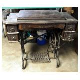 "Antique Cast Iron Treadle Sewing Machine Cabinet, 32"" x 34"" x 18"""