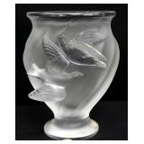 "Lalique ""Rosine"" Frosted Crystal Bird Vase, 5"" High"