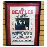 "Beatles Live In Concert 1965 Promotional Poster, Under Glass, In Oversized Frame, 19.5"" Wide x 25.5"""