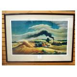 "Thomas Hart Benton (American, 1889-1975) Autographed Print Of ""Threshing Wheat"", Framed, Matted, Und"