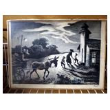 "Autographed Thomas Hart Benton (American, 1889-1975) Lithograph Of ""Prayer Meeting"" (Study For Wedne"
