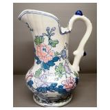 "Porcelain Pitcher With Floral Design, 12"" High"