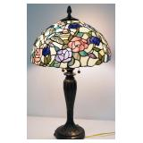 "Tiffany Style Table Lamp With Metal Base, Hold 2 Bulbs, 28"" High, Powers On"