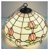 Stained Glass Style Swag Lamp With Globe Bulb, Powers On