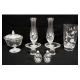 Avon Hummingbird Crystal Covered Candy Dish, Bud Vases (2), Vase, Candle Stick And Salt & Pepper