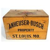 "1944 Anheueser-Busch Wood Bottle Crate With Strapped Hinge Lid, Holds 24- 12 oz Bottles, 10.25"" High"