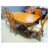 A-America Solid Oak Dining Table With Carved Wood Floral Corners, Gear Track Expanders For 2 Leaf In