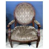 "Upholstered Arm Chair With Padded Seat, Back And Arms, And Carved Wood Design, 41"" High"