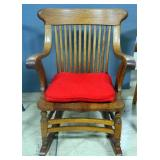 "Spindle Back Rocking Chair With Arms And Tie On Padded Seat, 33"" High"