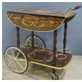 "Decorative Rolling Bar/Beverage Cart With Fold Down Sides And Bottle Holders, 27"" Tall (With Handle"