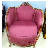 "Victorian Style Tub Chair, With Removable Seat Cushion, Brass Tacs And Carved Trim, 34"" High"