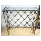 "Folding Metal Sofa Table With Glass Top, 31.5"" High x 35"" Wide x 12"" Deep"