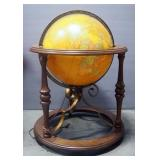 "Butler Illuminated Deluxe Political Terrestrial 16"" Globe, In Stand On Wheels, Spins And Rotates, Po"