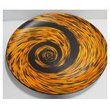 "Original Art ""Black And Orange Platter"" By Michelle Lynn, Acrylic On Wood Platter, 28"" Dia."