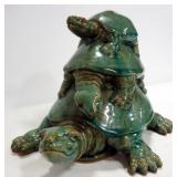 "Ceramic Turtle Figurine With 3 Turtles On Top Of Each Other, 8"" High"