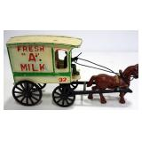 "Vintage Fresh ""A"" Milk Cast Iron Wagon With Horse, Milkman, And Milk Bottles"