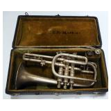 Vintage Cornet With 3 Mouth Pieces, Pearl On Tops Of Valves, In Case