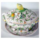 Porcelain Soup Tureen With Fruit And Floral Design