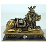 Household Decor, Includes Lion Trinket Box, Glass Paperweight, Glass Oil Burner And Display Shelf