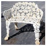 Metal Bench With Floral Design Back And Scroll Seat