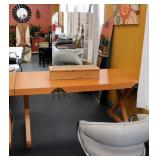 "Solid Wood Trestle Style Salon Station Table With 32 Outlets, Measures 30.5"" x 64"" x 30"""