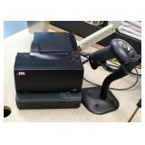 Motorola Handheld Bar Code Scanner With Stand, TPG Receipt Printer Model A760-4205, Both Power On, C