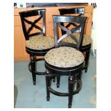 "Hillsdale Furniture Solid Wood Bar Stools With Upholstered Swivel Seats, Qty 3, Seat Back 43.5"" And"