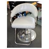 "Adjustable Metal Framed Upholstered Salon Chair Manufactured By P.S. Pibbs, 25"" Wide x 33.5"" Deep"