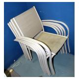 "Metal Framed Patio Chairs, 33"" x 24"" x 23"", Qty 5"