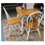 "Solid Wood Drop Leaf Kitchen Table With 2 Chairs, Table Measures 30"" x 42"" Round"