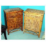 "Single Drawer Woven Rattan Accent Cabinets, 31.5"" x 22"" x 13.5"", Qty 2"
