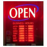 "Newon LED ""Open"" Sign, 23.5"" x 20.25"", Includes Decals, Powers On"